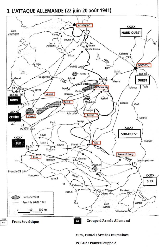 """Carte extraite du """"Joukov"""" de Jean Lopez montrant l'avancée allemande au début de l'opération Barbarossa."""