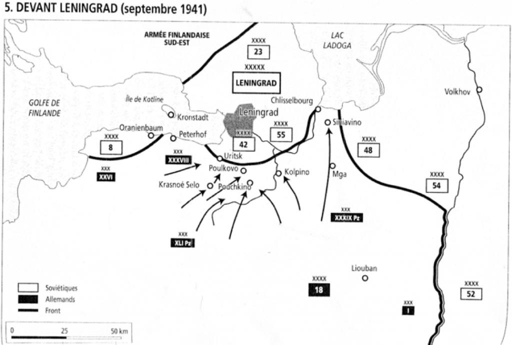 """Carte extraite du livre """"Joukov, l'homme qui a vaincu Hitler"""" de Jean Lopez montrant l'avancée allemande devant Leningrad"""