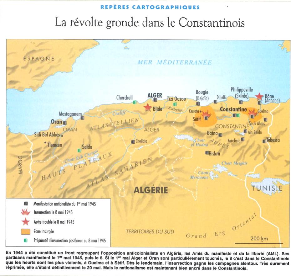 Carte montrant les zones insurgées en 1945 lors des émeutes de Sétif