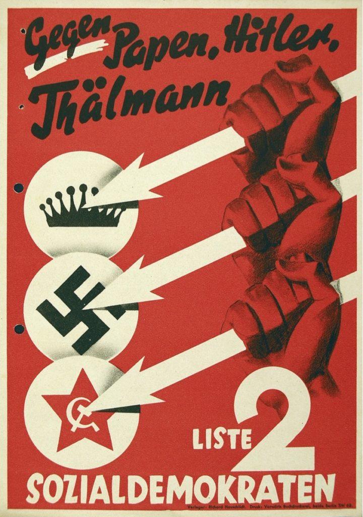 Affiche du SPD lors des élections de 1932, contre Hitler, Papen et Thälmann. Les 3 flèches sont les symboles du Front de Fer